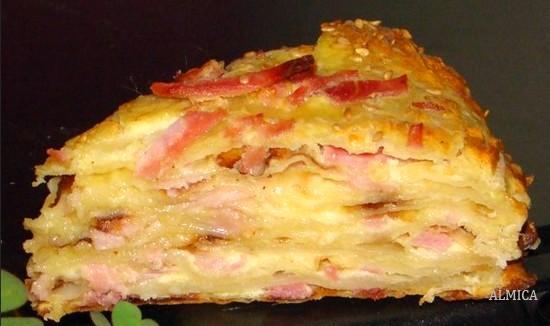 как приготовить сырный пирог с ветчиной
