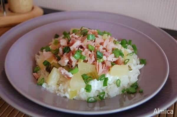 салат из ананасов с курицей и рисом
