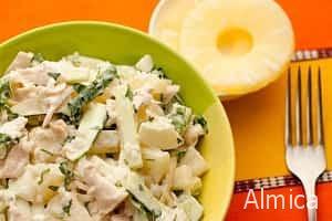 салаты из ананасов и курицы