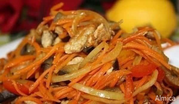 салат из корейской моркови и курицы пламенный