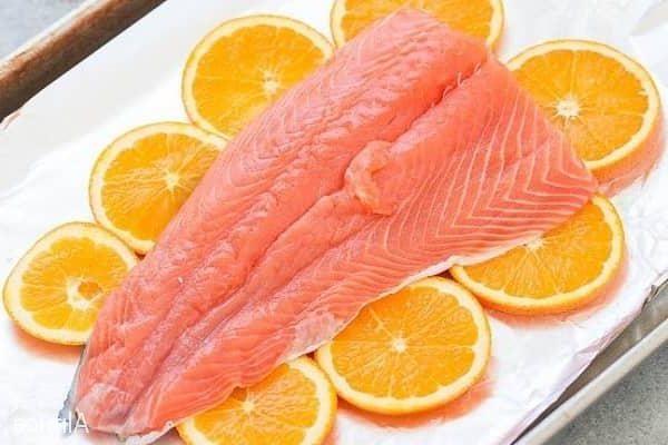 лосось апельсинами