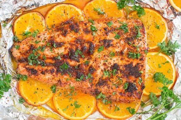 запеченный лосось с апельсинами